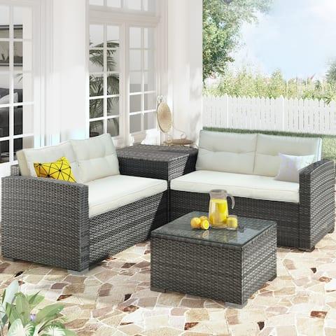 Nestfair Outdoor Furniture Sofa Set with Large Storage Box