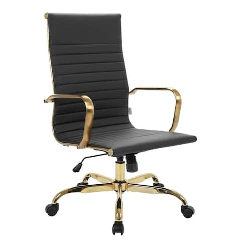 LeisureMod Harris High-Back Leather Office Chair With Gold Frame