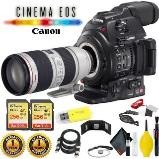 Canon EOS C100 Mark II Cinema EOS Camera with Dual Pixel CMOS AF (Body Only) + 512 GB Sandisk Extreme Memory Cards (2 x 256) Kit
