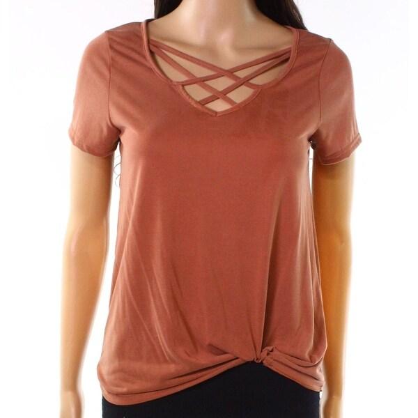 Moa Moa Brown Womens Size Large L Crisscross Tie Hem T Shirt Top