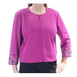Womens Purple Wear To Work Zip Up Jacket Size 0X