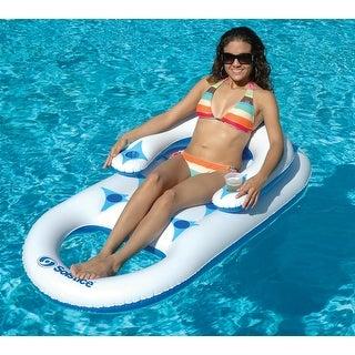 "68"" Solstice Blue and White Fashion Lounge Inflatable Swimming Pool Float"