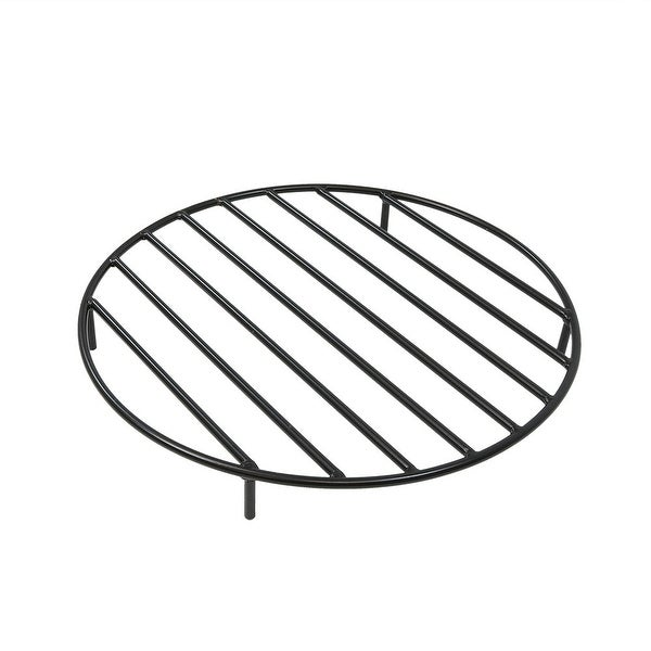 Sunnydaze Round Black Steel Outdoor Camping Fire Pit Firewood Grate - 24-Inch - 24 Inch