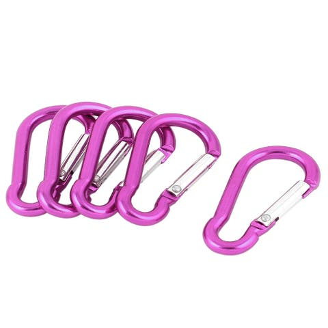 Unique Bargains Travel Camping Hiking Aluminum Clip Hook D-Ring Keychain Carabiner 5 Pcs Fuchsia