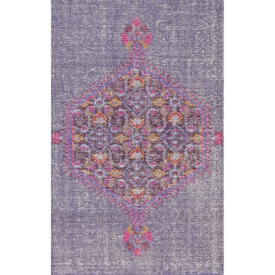 """Geometric Vintage Style Oriental Wool Distressed Area Rug Hand-knotted - 3'7"""" x 5'7"""""""