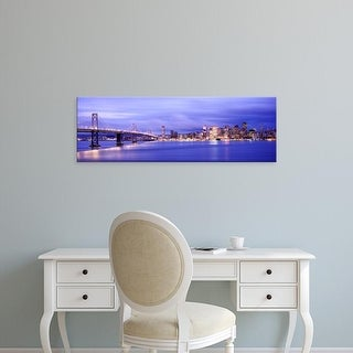 Easy Art Prints Panoramic Images's 'Bridge lit up, Bay Bridge, San Francisco Bay, San Francisco, California' Canvas Art