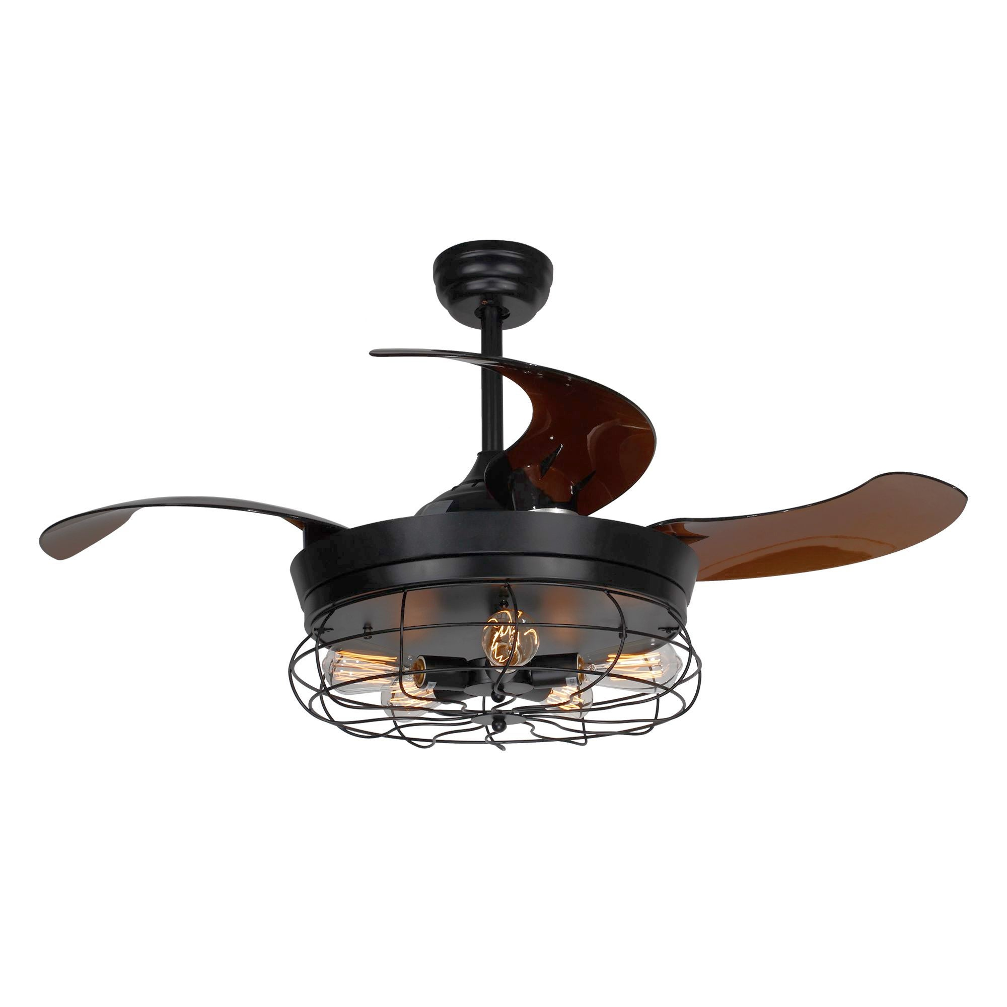 Shop Black Friday Deals On 46 Inch Industrial Foldable 4 Blades Cage Ceiling Fan With 5 Light Overstock 18915963 Black
