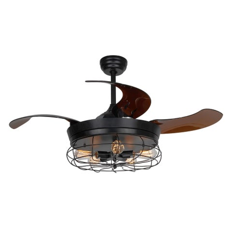 42.5-inch Industrial Foldable 4-Blades Cage Ceiling Fan with 5-Light