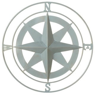"""Set of 2 Distressed Finish Gray Iron Small Compass Wall Decor 21.25"""" - N/A"""