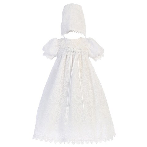 Baby Girls White Vintage Lace Overall Dress Bonnet Christening Set 0-18M