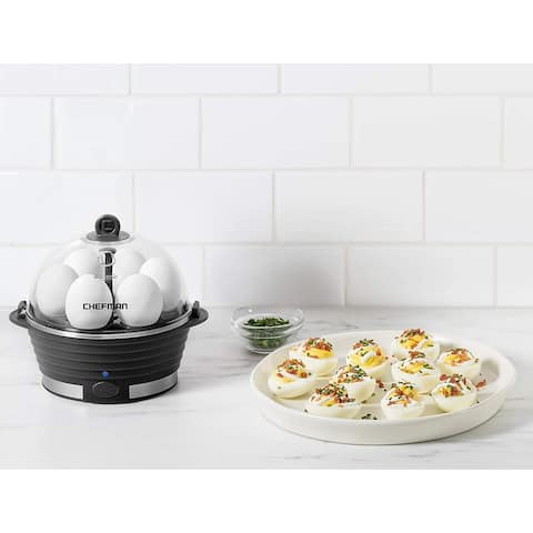 ChefmanElectric Egg Cooker Boiler, Quickly Makes 6 Eggs, BPA-Free, Black