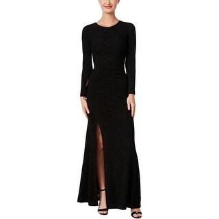 Calvin Klein Womens Evening Dress Glitter Front Slit