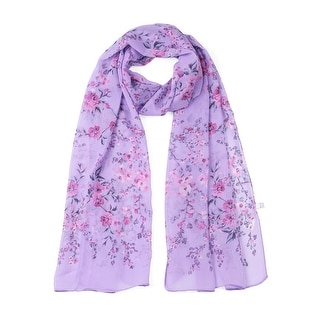 Link to Long Chiffon Beach Scarf Silk Scarves Floral Scarves for Women - Light Purple Similar Items in Scarves & Wraps