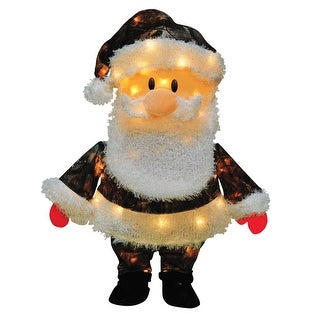 """24"""" Pre-Lit Candy Lane Santa Claus in Camo Christmas Yard Art Decoration - Clear Lights"""