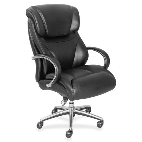 "La-Z-Boy Executive Chair - Black - Faux Leather - 32.8"" Width x 27.8"" Depth x 45.3"" Height - 1 Each"