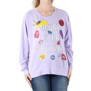 Womens Purple Long Sleeve Jewel Neck Top Size S