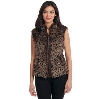 Cripple Creek Western Vest Womens Leopard Faux Fur Collar CR13365
