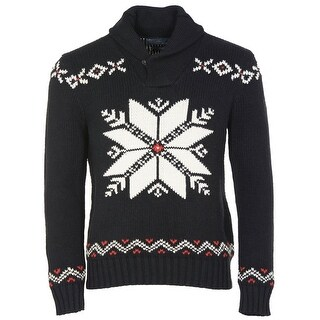 Polo Ralph Lauren Mens Shawl Collar Sweater Medium Black and White Snowflake - M