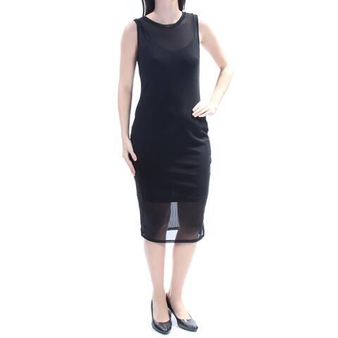 e46dc482d8 BAR III Womens Black Sleeveless Jewel Neck Midi Sheath Cocktail Dress Size   S
