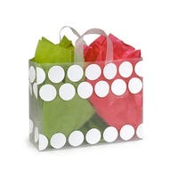 """Pack Of 250, Vogue Size 16 x 6 x 12"""" White Hip Dots Plastic Shopping Bags 3 Mil W/6 Mil Handle"""