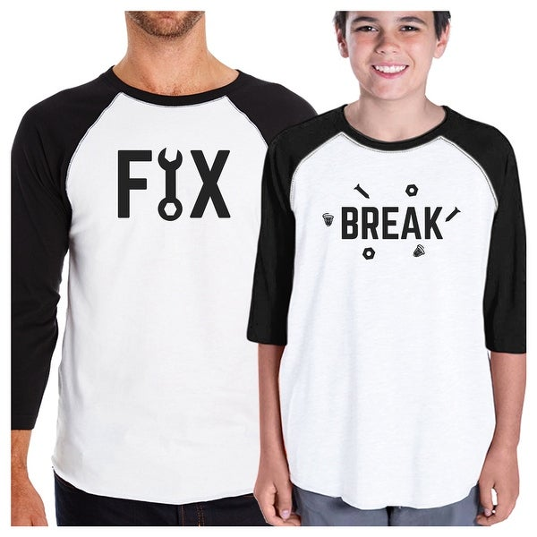 Fix And Break Funny Design Graphic T-Shirt Dad Baby Matching Tops