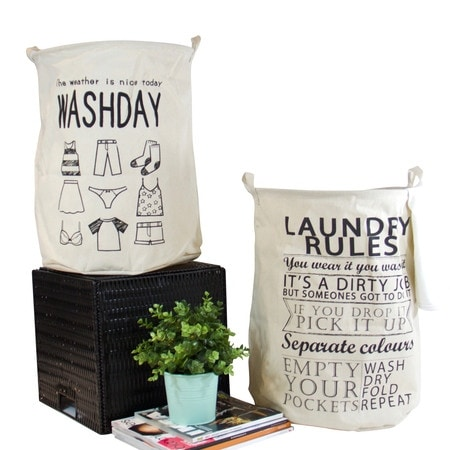 G Home Collection Washday and Laundry Rules Fabric Laundry Basket with Handles (Set of 2)