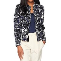 Kasper Blue White Womens Size 4 Abstract  Crepe Flyaway Jacket