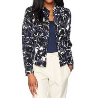 Kasper Blue Womens Size 4 Abstract Print Crepe Flyaway Jacket