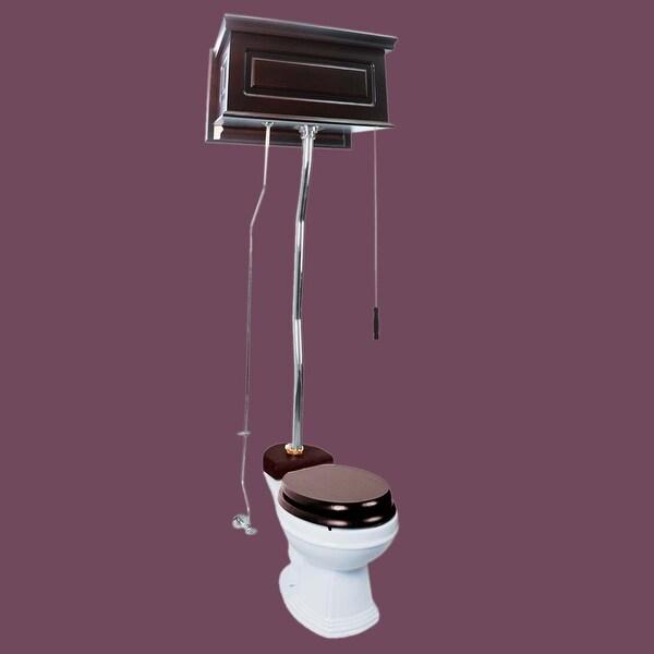 Dark Oak High Tank Z-Pipe Toilet Round White Bowl