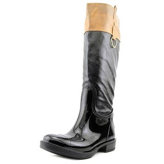 Nomad Moto Women Round Toe Synthetic Black Rain Boot