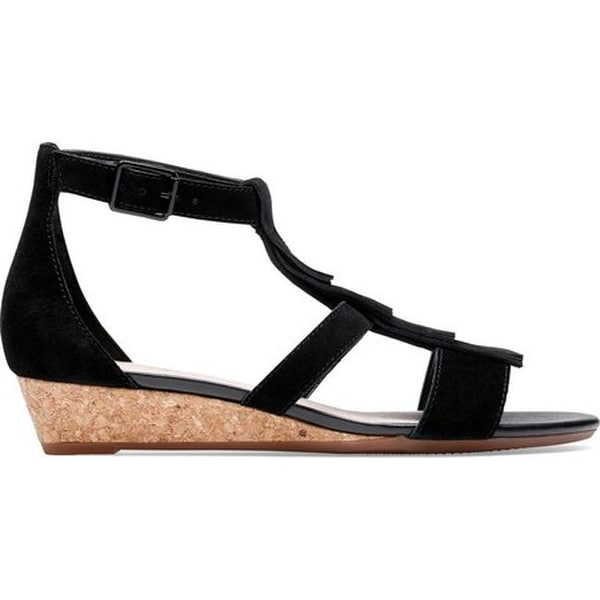 9a2eb3d5996 Shop Clarks Women s Abigail Sun Strappy Sandal Black Suede - Free Shipping  Today - Overstock - 27346778