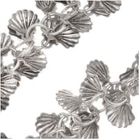 Antiqued Silver Plated 7mm Shell Charm Chain - Bulk By The Inch