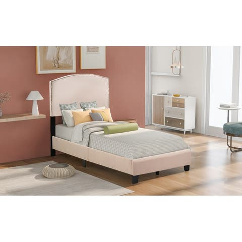 Upholstered Platform Bed with Wooden Slats and Nailhead Detail
