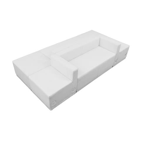 Offex 6 Piece Contemporary Melrose White Leather Reception Configuration [OFX-274328-FF]
