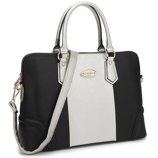 Dasein Women Two Tone Briefcase Satchel Handbag