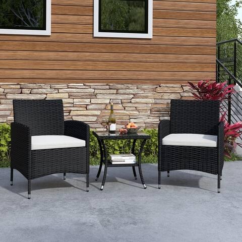 Lordear 3 Piece Patio Bistro Set Outdoor Rattan Conversation Set for Backyard