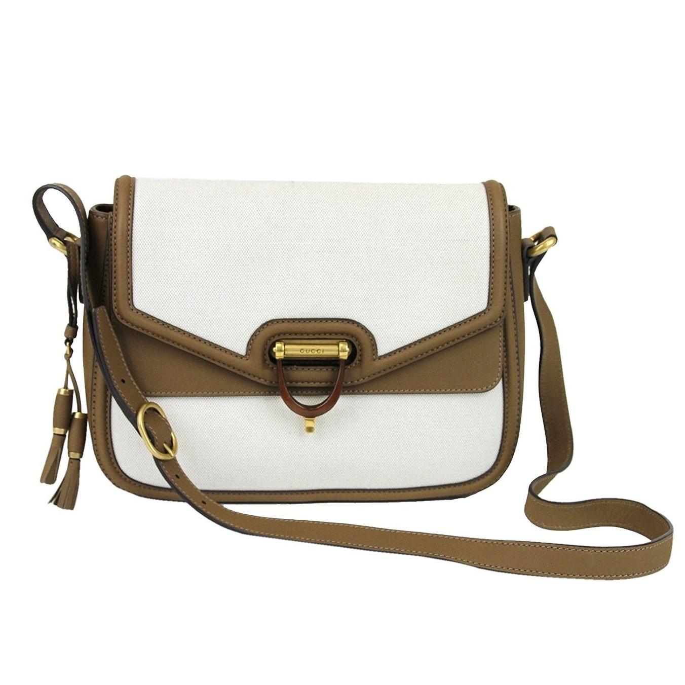 Gucci Women\u0027s White Canvas Derby Messenger Bag 309586 , One size