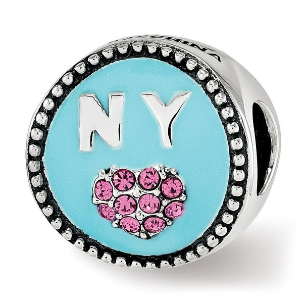 Sterling Silver Reflections Enameled NY Pink Swarovski Elements Heart Circle Bead (4.5mm Diameter Hole)