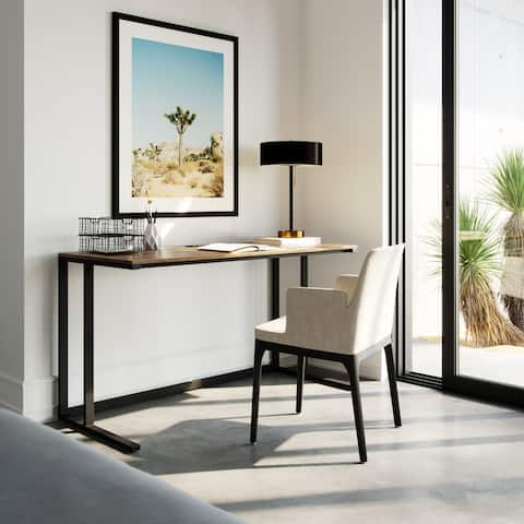 """Logan 55"""" Modern Industrial Large Home Office Writing Desk With Thick Wood Top, Black Metal Legs, And Cable Management"""