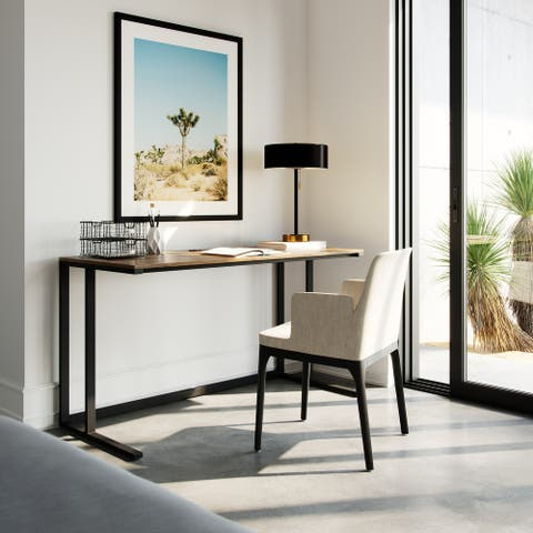 "Lucas 55"" Modern Industrial Large Home Office Writing Desk With Thick Wood Top, Black Metal Legs, And Cable Management"