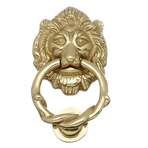 Door Knocker Lion Cast Brass 6 1/4 H x 3 5/8 W   Renovator's Supply