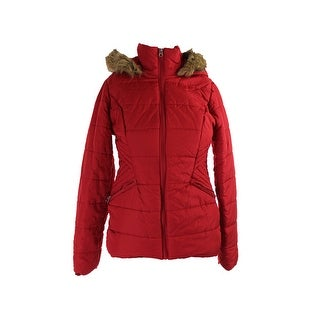 Krush Juniors Red Faux-Fur-Trim Puffer Quilted Jacket M
