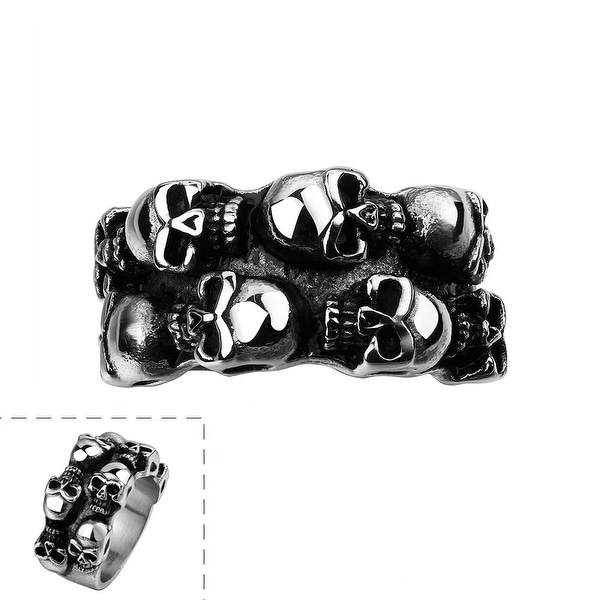 Vienna Jewelry Multiple Skull Stainless Steel Ring