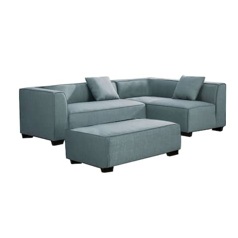 Reversible Fabric Upholstered Sectional Sofa with Ottoman, Gray