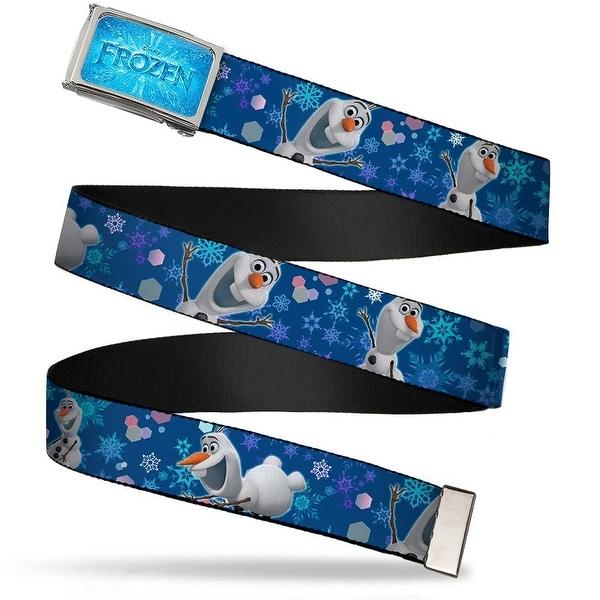 Frozen Logo Fcg Blues Chrome Frozen Olaf Poses Snowflakes Blues Web Belt