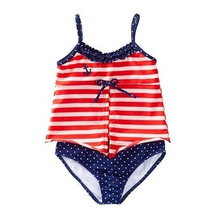 Azul Little Girls Red White Stripe In The Navy Open Tankini 2 Pc Swimsuit