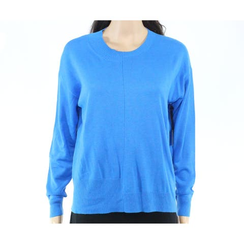 Trouve Womens Sweater Blue Size XS Scoop Neck Pullover Ribbed-Trim