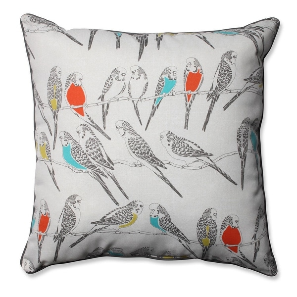 """25"""" Blue and Coral Retweet Vermeil Decorative Outdoor Corded Throw Pillow"""