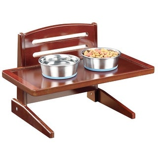 "Adjustable Height Wooden Puppy Food and Water Tray - 18.5"" Wide x 10"" High"