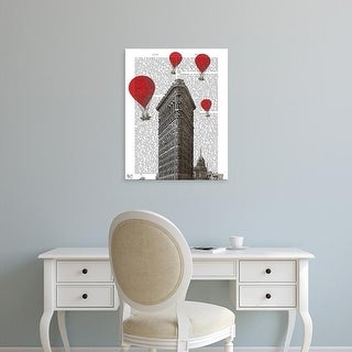Easy Art Prints Fab Funky's 'Flat Iron Building and Red Hot Air Balloons' Premium Canvas Art